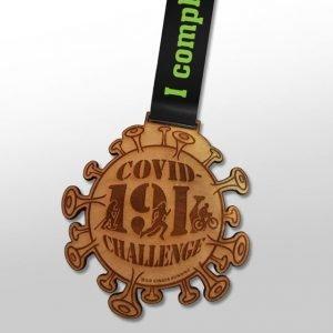 Wooden Covid 19k Challenge medal